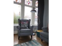 Dove Grey Leather NEXT 'Sherlock' Wingback Armchair RRP £750
