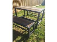 Table and bench garden set