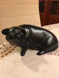 R Moss black pig money box
