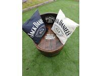 Oak barrel chair with Jack Daniels logo