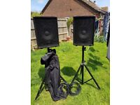 kam zp series 100watt speakers and stands and carry case in superb condition