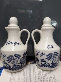 Blue Willow - Oil Vinegar bottles pourers dispenser vintage