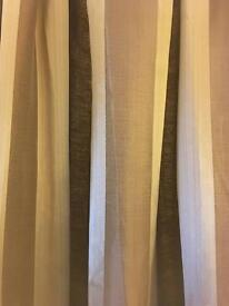 Brown and cream thick lined curtains