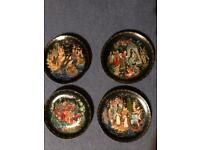 Charming x4,painted plates Russian ?