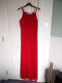 Red Embellished Ruched Gown