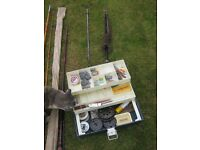 Five fishing rods and box of miscellaneous tackle