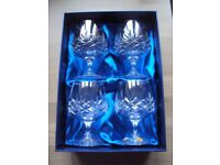 Set of 4 unused and boxed Crystal Brandy Glasses