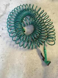 Homebase 15m Coiled Garden Water Hose Spiral Pipe & Spray Nozzle
