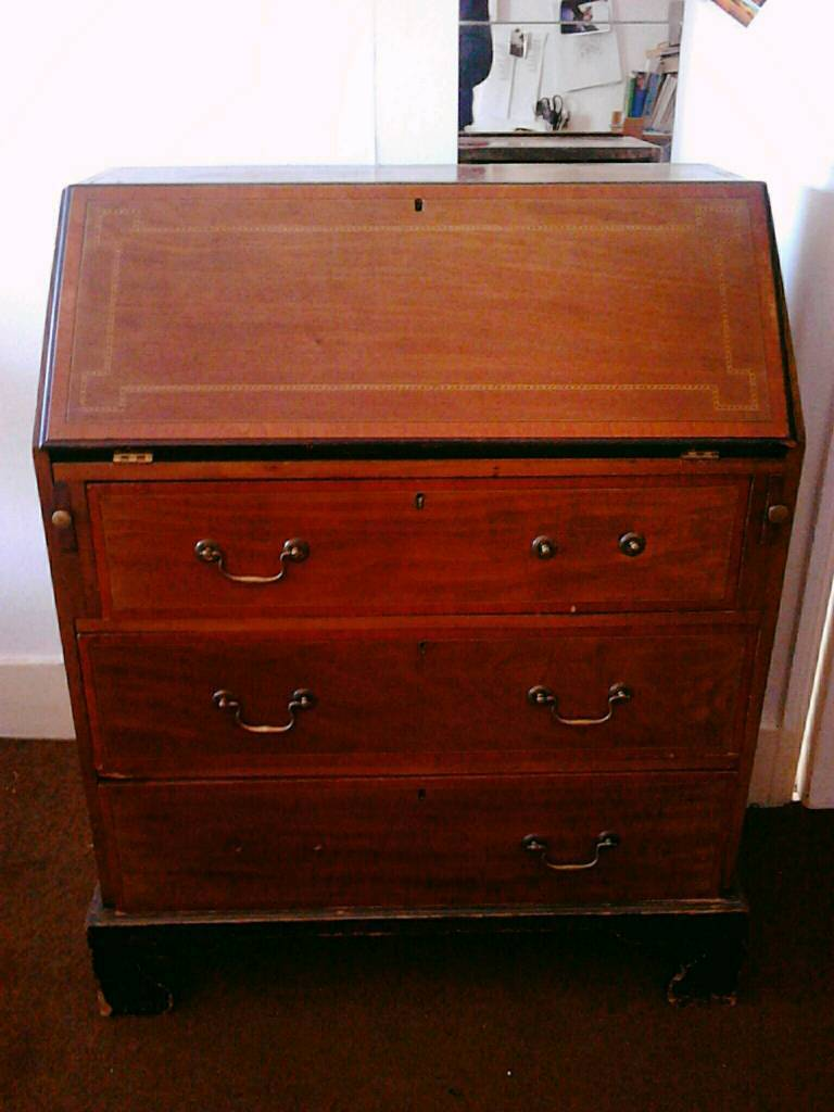 mahogany secretaire bureau chest in stoke newington. Black Bedroom Furniture Sets. Home Design Ideas