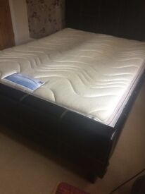 King size fake leather bed Brown optional mattress