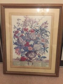 Professionally framed floral painting - wood / wooden frame