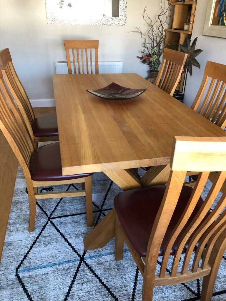 Terrific Solid Oak Dining Table With Separate Extension Leaf Six Oak Leather Dining Chairs In Aberdeen Gumtree Caraccident5 Cool Chair Designs And Ideas Caraccident5Info