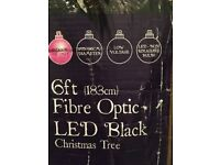 Black fibre optic Christmas tree 2m tall boxed