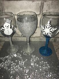 Homemade Christmas wine glasses