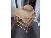 Wooden convertible highchair / desk