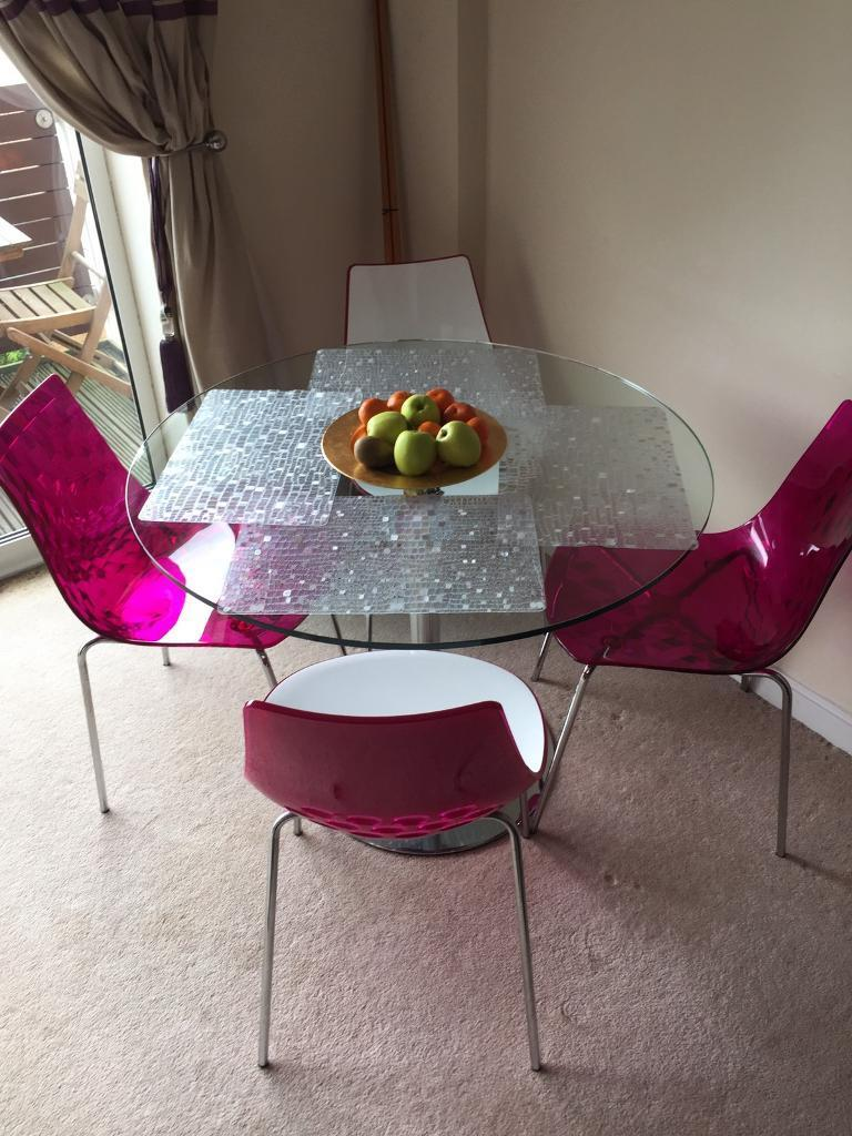 BHS White And Fuchsia Acrylic Dining Table Chairs RRP 499