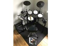 Roland TD9KX V-drum kit full mesh heads and Roland Drum Amp PM-10