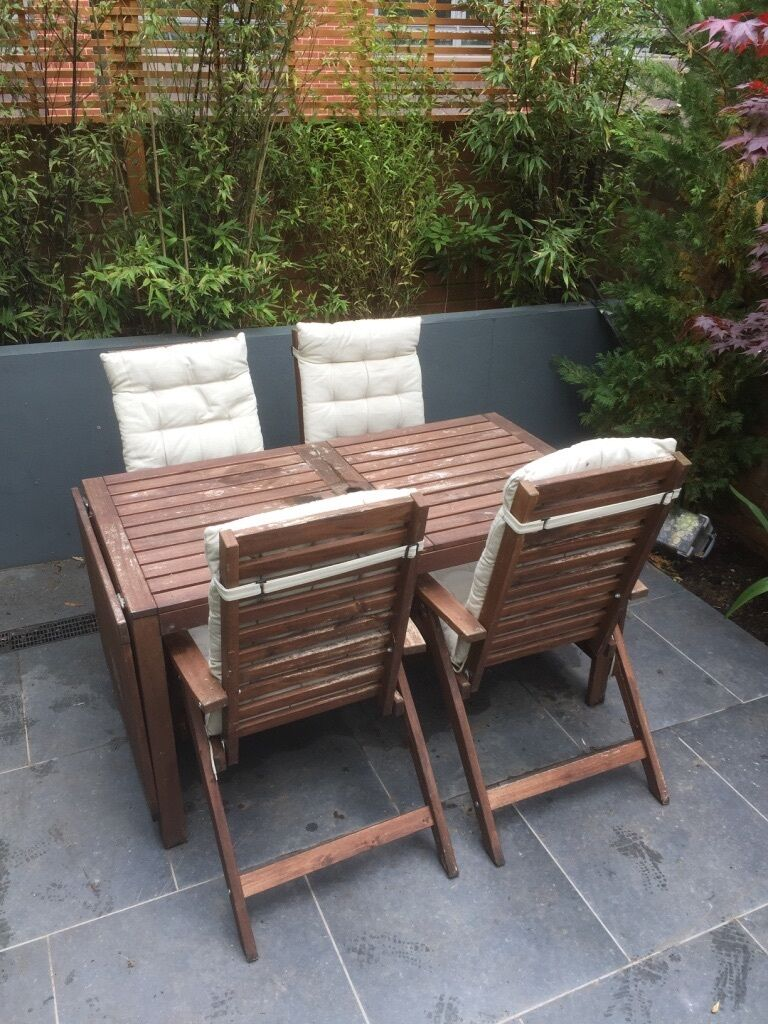 ikea pplar wooden table and 5 x chairs covers for the garden in brighton east sussex. Black Bedroom Furniture Sets. Home Design Ideas
