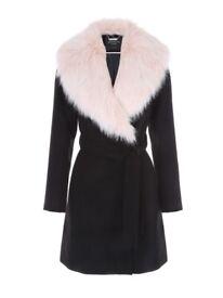 Size 12 Pink fur trim collar Black coat