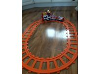 Battery operated train set with light, sound and oval track