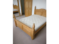 Excellent pine double bed with wooden struts (free mattress)