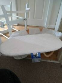 John lewis rocking moses basket stand, moses basket, mattress and sheets