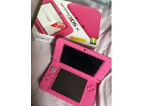 Nintendo 3ds XL pink boxed vgc with case, charger and 4 games