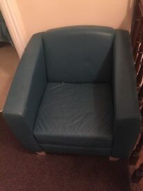 Green Italian design leather seat with wooden legs
