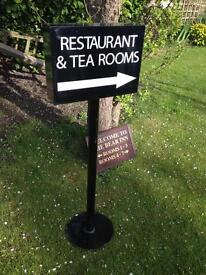 Heavy metal Restaurant sign and wooden room sign