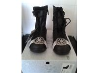 Womens leather work boots NEW BOXED high leg size 4, S3 water resistant, toe cap laced+side zip.