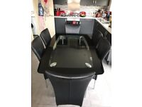 Glass Kitchen Dining Table with 6 Chairs