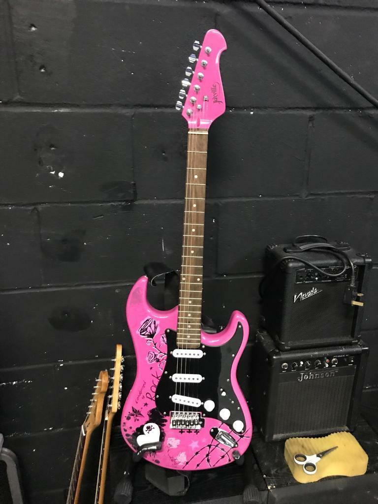 Jaxville pink punk full size 4/4 electric guitar