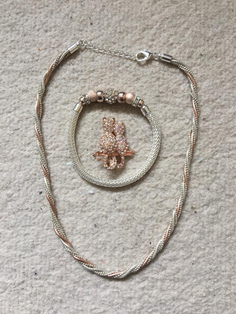 Rose Gold Jewellery Setin Kirkcaldy, FifeGumtree - Necklace, bracelet and cat broach. Only worn once for wedding.Bought from Debenhams, combined RRP £40.Collection Only