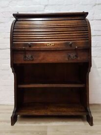 Antique Oak Roll Top Bureau (DELIVERY AVAILABLE FOR THIS ITEM OF FURNITURE)
