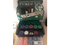 Set of Poker Chips in a Tin with Felt Poker table top cover x