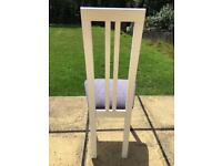 Four Matching White Wooden Framed Dining Chairs, Excellent Condition.