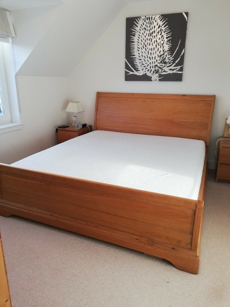 Feather And Black Super King Size Oak Sleigh Bed And Tempur Mattress