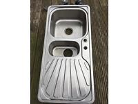 Stainless steel kitchen sink - 1.5 bowls and draining board