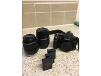 Nikon D3200 DSLR - excellent condition w/ 2 Lenses: 18-55mm and 18-200mm Macro