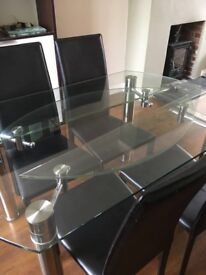 Glass and Chrome Dining Table with 6 Chairs