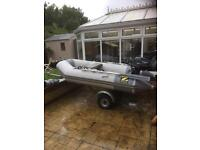 Zodiac 285 rib boat air deck engine trailer