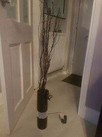 Black vase and light up twigs
