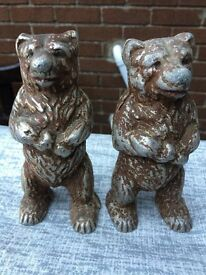 Pair of cast iron bear money boxes