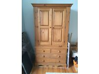 Olympus Pine Double Wardrobe Four Drawers Solid wood