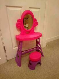 Girls toy dressing table with stool
