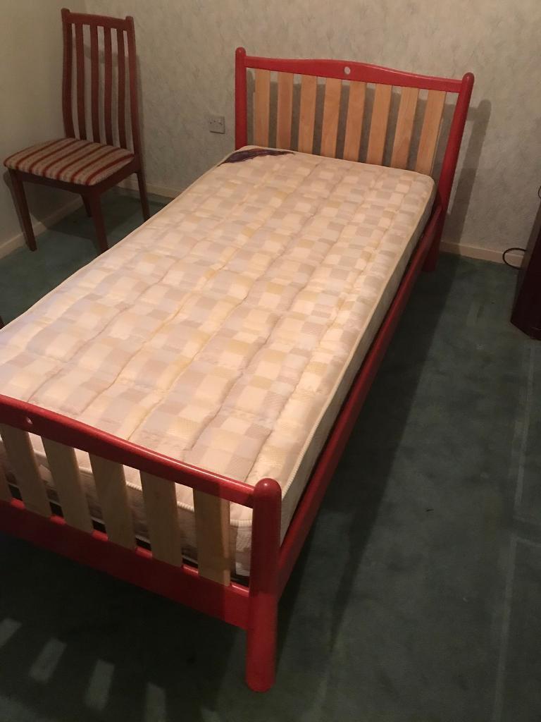 Red Wooden Framed Single Bed Amp Mattress In Kirkintilloch