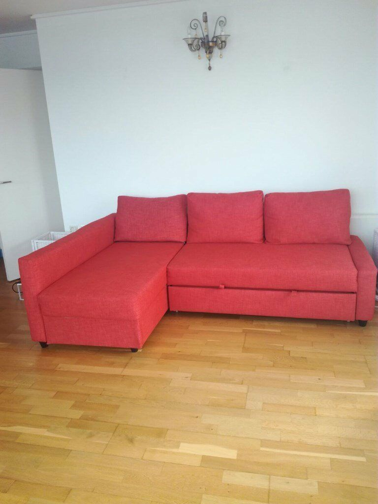 Dark Orange Corner Sofa Bed And Storage Used Less Than 1 Year