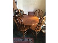 solid wood round table with 4 solid wood chairs,
