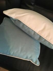 2 dunelm mill cushions, duck egg blue and cream