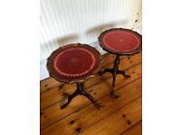 Antique Oxblood Red Leather Wine Tables with Clawed Feet x 2